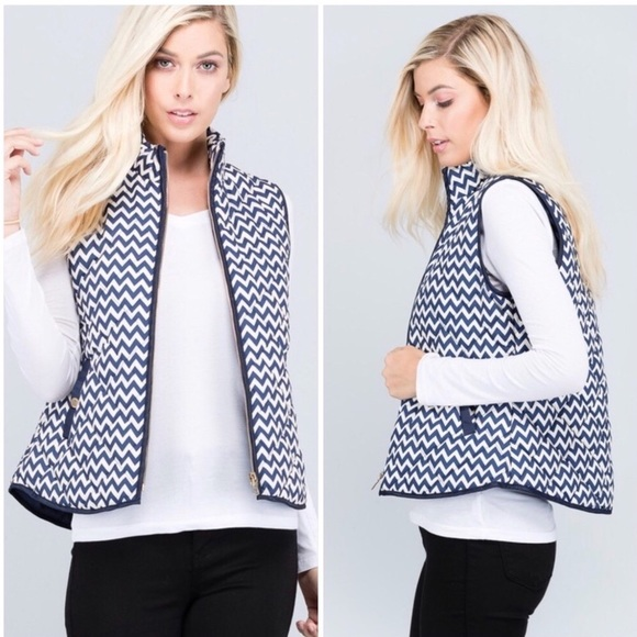 Jackets & Blazers - Blue Ivory Zip Up Puffer Vest with Pockets Chevron